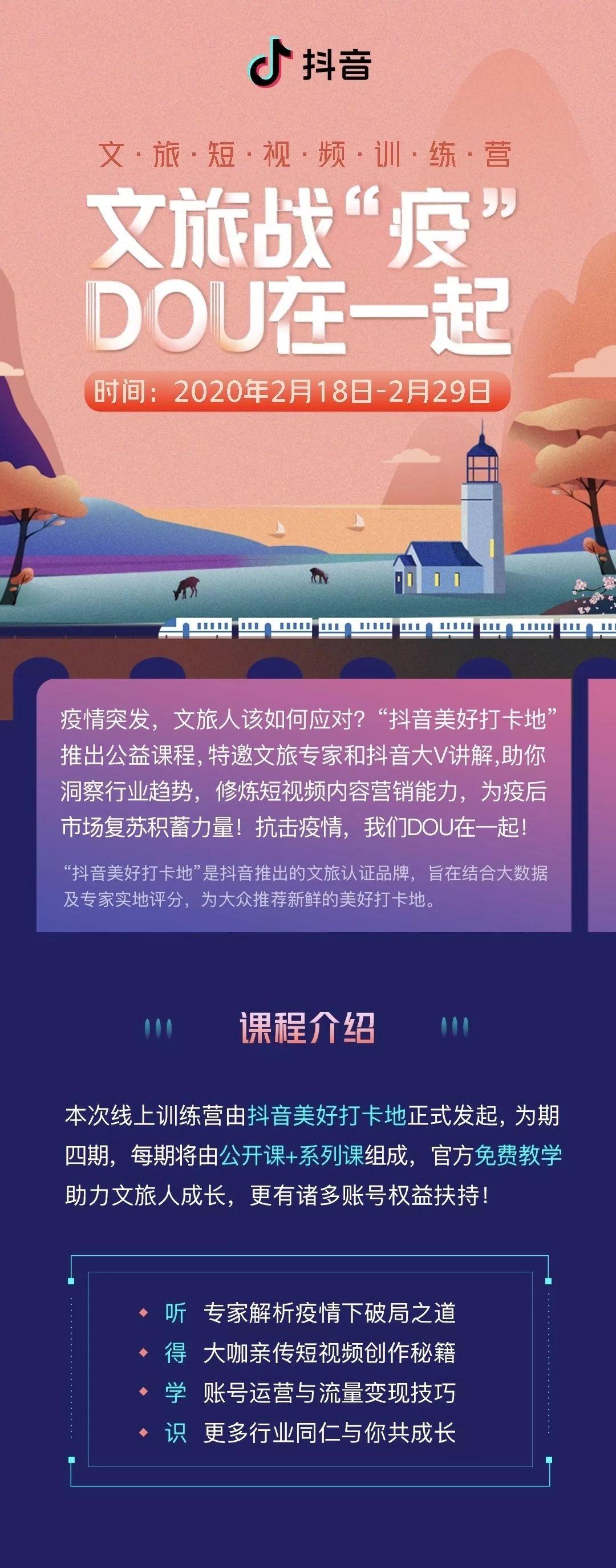 """抖音宣布发起""""文旅短视频训练营""""公益培训计划"""