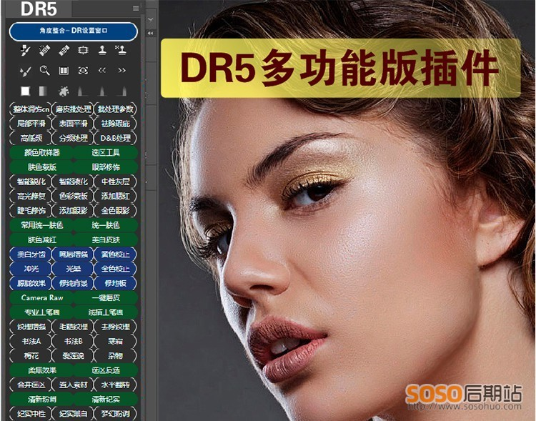 DR5工笔画版集合多功能版PS插件美工修图磨皮滤镜WIN/MAC